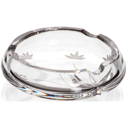 """Ashtray, Crystal Ashtray, Collection """"MAITRAUM"""" transparent, Ø 14 cm, modern style (GERMAN CRYSTAL powered by CRISTALICA)"""