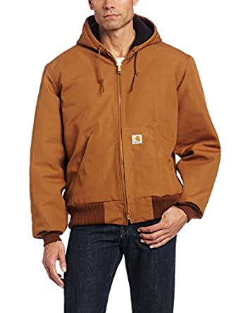Carhartt Men's Duck Active Jacket Quilted Flannel Lined J140,Brown,Small Regular