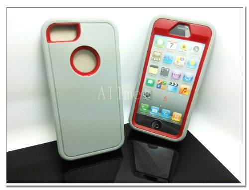 Buy  Multi Color Iphone 5 5S Body Armor Silicone Hybrid Cove Hard Case, Three Layer Silicone PC Case Cover for iPhone 5 5S (Grey+Red)