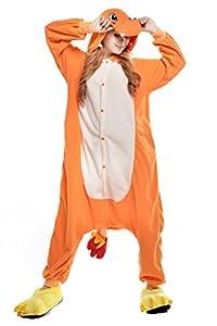 NEWCOAPLAY Unisex Onesies Pajamas Kigurumi Cosplay Sleepsuit Costume (L, Charmander)