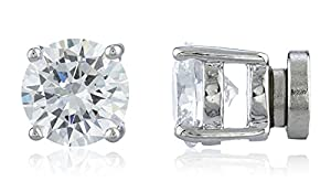 JOTW Silver with Clear Four Prong Round 7mm Cubic Zirconia Magnetic Stud Earrings