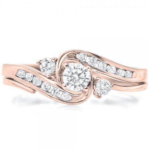 0.58 Carat Bridal Sets Round Cut Diamond on 18k Rose gold