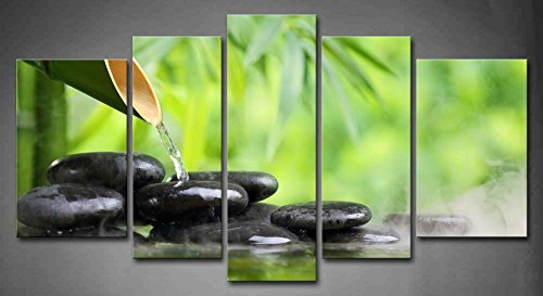 5 panel wall art green spa still life with bamboo fountain for Deco mural zen