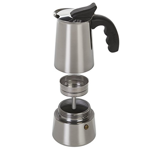 Primula 6-Cup Espresso Maker - Finely Crafted Stainless Steel - Stay-Cool Silicone Handle and a Flip Top Lid - For Use on Gas or Electric Stovetops