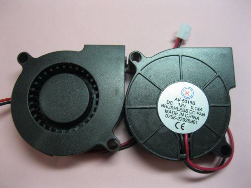 2 pcs Brushless DC Blower Fan 5015S 12V 2 Wires 50x50x15mm Sleeve-bearing Skywalking
