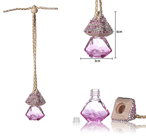 Mini-Factory Bling Auto Ornament Car Mirror Hanging Decoration Crystal Diamond Refillable Glass Air Freshener Empty Bottle for Car / Home / Office (Bottle only, Perfume NOT included) (Pink) (Car Air Freshener Refillable compare prices)