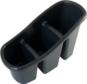 Black 3 Compartment Kitchen Washing Up Brush Utensils Storage Caddy Pot