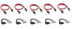 CNCT SATA Cable + SATA Power Cable ( 5PC X 2 = 10PC PACK ) - Suitable for installing HDD and peripherals in PC Cabinets from Cooler Master - Antec - Corsair - Thermaltek - NZXT