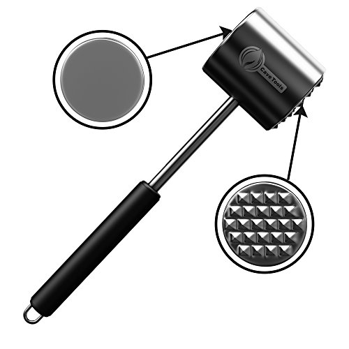 Meat Tenderizer Mallet Tool - DISHWASHER SAFE & - Manual Hammer Pounder For Tenderizing Chicken Steak Pork & Veal in Kitchen - Professional Non Slip Silicone Handle for Pounding (Meat Tenderizer All Metal compare prices)