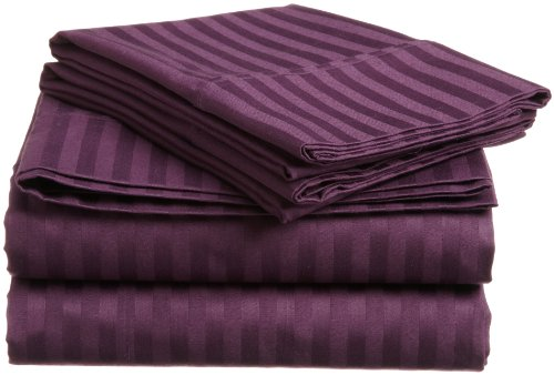 Impressions Genuine Egyptian Cotton 400 Thread Count Twin Xl 3-Piece Sheet Set Stripe, Plum front-912488