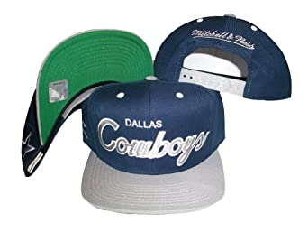 Dallas Cowboys Script Navy Silver Two Tone Snapback Adjustable Plastic Snap Back Hat... by Mitchell & Ness