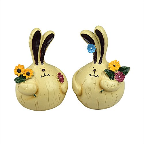 2Pcs Large Lovely Village Style Fat Resin Couple Rabbit Pick-flowers for Garden Home Wedding Yard Ornaments Creative Gift Decorative Craft