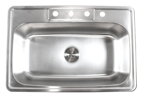 For Sale! 33 Inch Stainless Steel Top Mount Drop In Single Bowl Kitchen Sink - 18 Gauge
