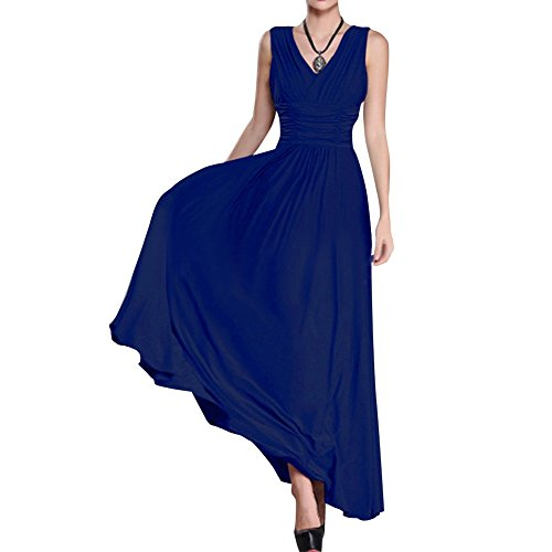 Preferhouse Womens Dresses Plus Size Formal Evening Gown Long V-Neck Ruched 2X Royal Blue