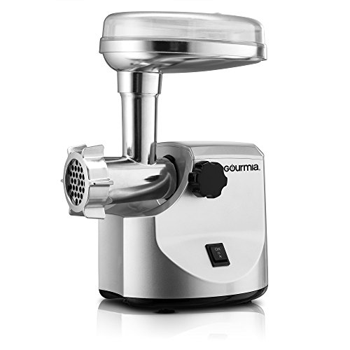 Gourmia GMG7000 Prime Plus Commercial Grade Meat Grinder Variety of Sausage Funnels, Kibbeh Attachment and Metal Grinding Plates Recipe Book Included 800 Watts ETL Approved 2200 Watts Max.