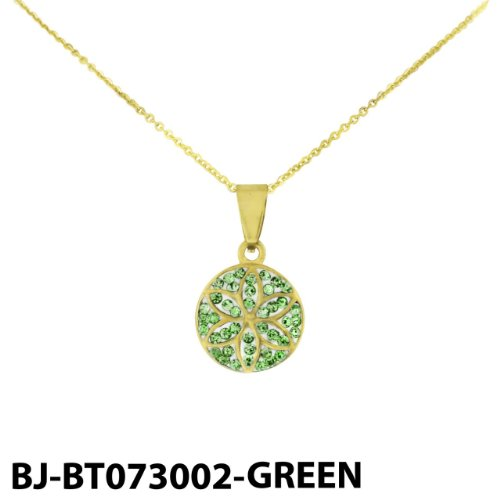 Stainless Steel Gold Tone Flower Pendant with Green Cubic Zirconia & Chain