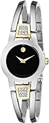 "Movado Women's 604983 ""Amorosa"" Diamond-Accented Stainless Steel Bangle Watch"