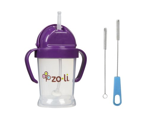 Zoli Bot Straw Sippy Cup with Sippy Cup Cleaner - Purple - 1
