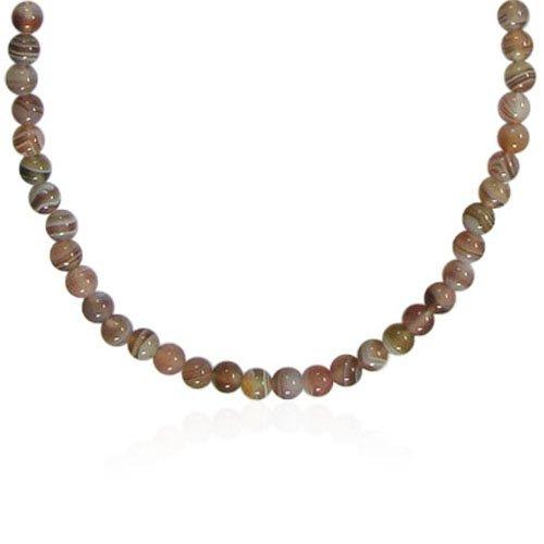 4mm Round Botswana Agate Bead Necklace, 50