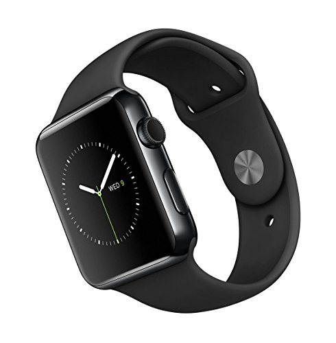 "Apple Watch Sport 42 mm - Smartwatch iOS de acero inoxidable en negro cósmico (pantalla 1.65"", 8 GB, 520 MHz, 512 MB RAM), correa deportiva negra"
