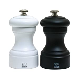 Peugeot 2/24291 Bistro 4 Inch Black Matte Pepper Mill and 4 Inch White Matte Salt Mill Set