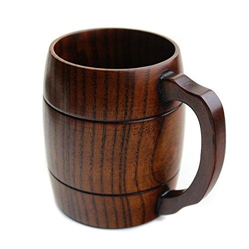 Homestia Solid giapponese design Multifuctional naturale legno antiscivolo Latte Beer Mug Bicchieri con la maniglia 11 OZ Capacità