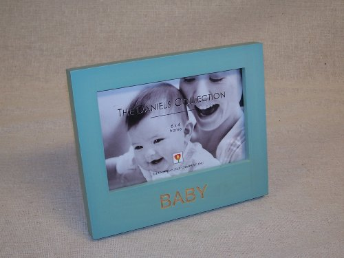 "The Daniels Collection 6"" by 4"" Engraved Wood Picture Frame 'BABY' (Boy)"