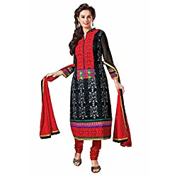 Ashika Women Cotton Dress Material (8555 _Black And Red _8)