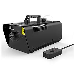 1byone O00QL-0049 Fog Machine 1000-Watt with Wired Remote Control Fogger