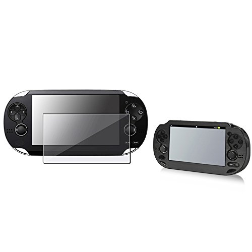 Eforcity® Black Aluminum / Plastic Case With Free Anti-Glare Lcd Covers Compatible With Sony Playstation Vita