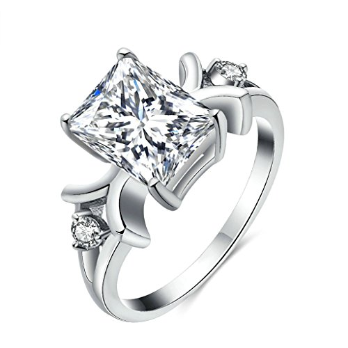 Gnzoe Gioielli,Placcato argento Moda Piazza Cubic Zirconia Bianca Oro Anello per Donna Dimensione 15