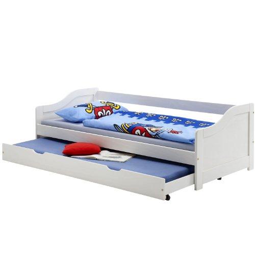 cadres de lit lit gigogne avec tiroir lit lisa avec sommiers 90x200 cm pin lasur blanc. Black Bedroom Furniture Sets. Home Design Ideas