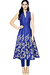 Fabron blue designer kurti with embroidery work for women