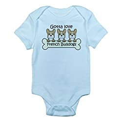 CafePress Three French Bulldogs Infant Bodysuit - 0-3M Sky Blue