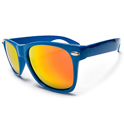 Sunglass Spot- Bright Vibrant Electric Blue Wayfarer With Color Mirrored Orange Uv400 Lenses