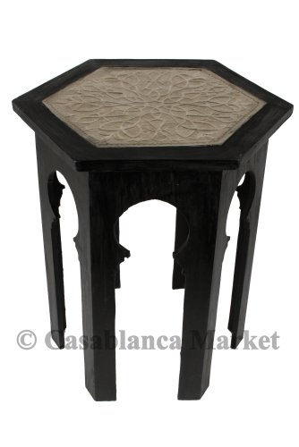 Moroccan Redwood And Silver Inlay End Table