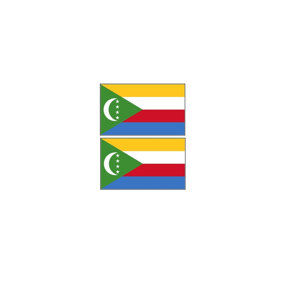 2 Comoros Comorian Flag Stickers Decal Bumper Window Laptop Phone Auto Boat Wall