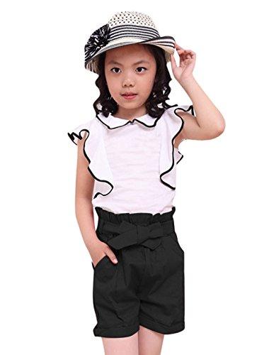 Girls Elastic Ruffled Waist Belted Linen Shorts Allegra Kids Black 8