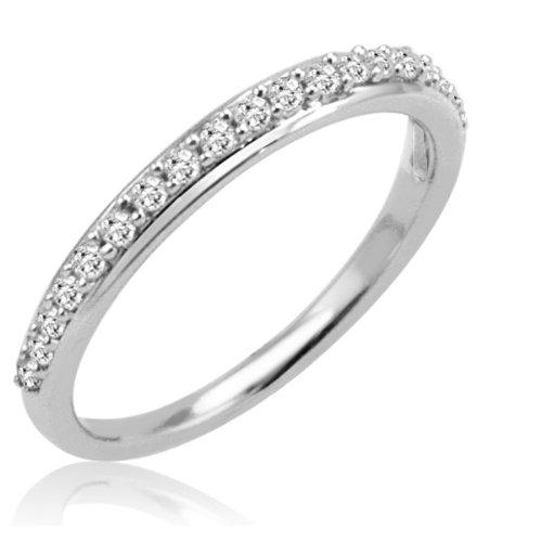 10K White Gold Diamond Anniversary Ring ( 1/4ct available sizes 5-8) Sz 7 1/2