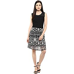 Black and white A line Knee Length Dress with Printed Flair