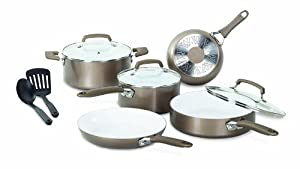 WearEver C944SA Pure Living Nonstick Ceramic Coating PTFE-PFOA-Cadmium Free Dishwasher Safe Oven Safe Cookware Set, 10-Piece, Gold
