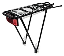 Bike Rear Rack, Black , Aluminum 2 Leg Rear Bike Rack with spring, reflector INCLUDED, biria