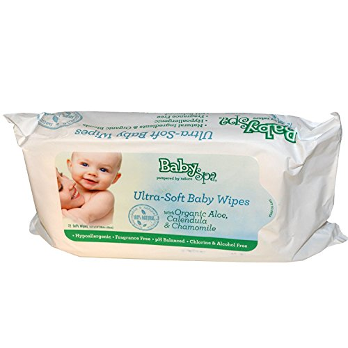 Biodegradable & Organic Baby Wipes 72 Count - 454 Grams by Baby Spa - 1