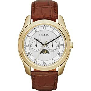 Relic by Fossil Harris Moon Phase Brown Leather Mens Watch ZR15705