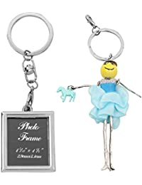 Atul's Gallery Silver And Blue Keychain (Pack Of 2)