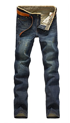 Easy Men Fashion Punk Casual Straight Scratch Vintage Jeans Blue