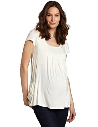 Mothers en Vogue Women's Maternity Adria Pocket Tee, Cloud Cream, X-Small