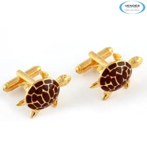 vendee Fashion - Brown tortoise men's steel cufflink (4113)