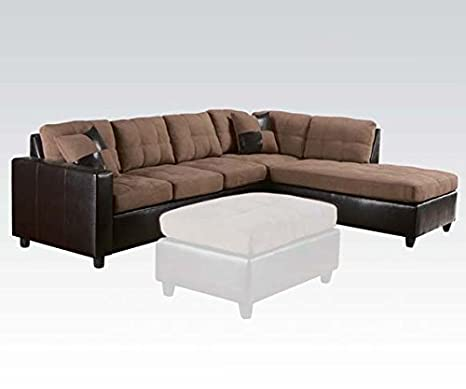 2 pc Milano collection reversible chaise two tone saddle easy rider fabric and espresso leather like vinyl sectional sofa