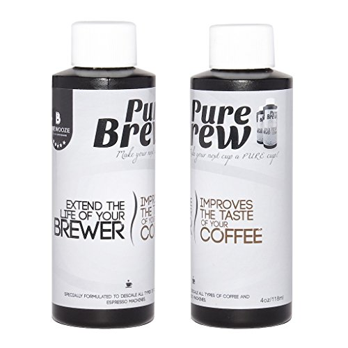 Brewooze - Purebrew Descaling Solution for Keurig 2.0 & 1.0 Brewers ,Single serve brewers, Electric drip coffee makers, Semi automatic espresso machines & much more , 4 Ounce Bottle, 2-pack